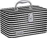 Vaultz Locking Train Case for Cosmetics Storage, Black and White Stripe (VZ03754)