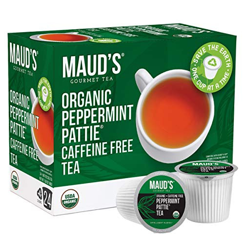 Maud's Organic Peppermint Tea (Peppermint Pattie Tea), 24ct. Recyclable Single Serve Organic Decaf Tea Pods – 100% Organic Caffeine Free Herbal Tea California Blended, Peppermint Tea K Cups Compatible, Supports Healthy Weight Loss, Sleep Tea, Kids Tea, or Drink All Day