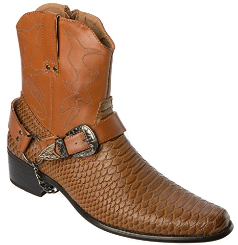 Alberto Fellini Western Style Boots New Upgrade PU-Leather Cowboy Brown Dress Shoes Size 10.5