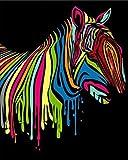 Pintura por Números Cebra animal creativa Bricolaje Pintura al óleo para Colorear por números en Lienzo de Lino decoración de Arte de Pared 16x20 Inch sin Marco -HYS139
