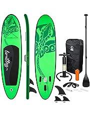 ECD Germany Opblaasbare Stand Up Paddle Board Limitless   308 x 76 x 10 cm   Groen   PVC   tot 120kg   Pomp draagtas accessoires   SUP Board Paddling Board Surfboard   Verschillende modellen