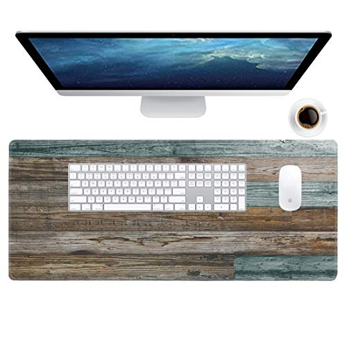 Galdas Gaming Mouse Pad Vintage Wood Grain Pattern XXL XL Large Mouse Pad Mat Long Extended Mousepad Desk Pad Non-Slip Rubber Mice Pads Stitched Edges Thin Pad (31.5x11.8x0.08 Inch)