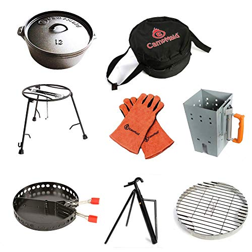 """CampMaid 8-Piece Dutch Oven Set With 12"""" Dutch Oven Without Legs & All Tools"""