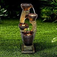 """Chillscreamni 40"""" H Modern Outdoor Fountain - 4 Crocks Outdoor Garden Fountain with Contemporary Design for Garden, Patio, Deck, Porch, Backyard and Home Art Decor"""