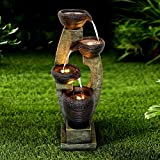 "Chillscreamni 40"" H Modern Outdoor Fountain - 4 Crocks Outdoor Garden Fountains with Contemporary Design for Garden, Patio, Deck, Porch, Backyard and Home Art Decor"