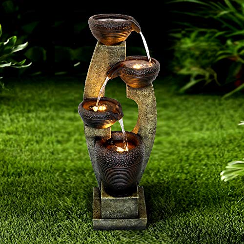 WATURE moderner Outdoor Brunnen - 100cm Moderner Gartenbrunnen mit LED Beleuchtung&beruhigende Wassergeräusche, Zeitgenössisches Desig Zierbrunnen für Garten, Büro, Wohnzimmer, Ferienhaus
