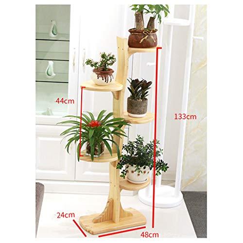 YiLANJUN bloemenhouder van hout, plantenhouder, plank voor bloemen, voor binnen en buiten, kleur notenhout, licht, wit, roodbruin, kleur hout, kastanjerood