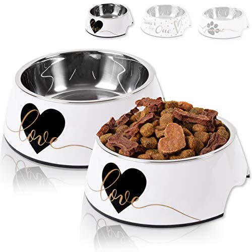 ne&no® Futternapf 2er Set für kleine und mittelgroße Hunde, Katzen oder Welpen | Fressnapf stabil, robust & rutschfest | Melamin-Napf 350 ml | herausnehmbarer Edelstahl-Napf | mit Motiv