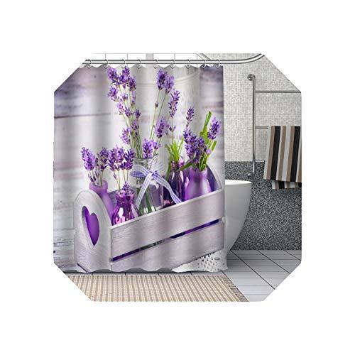 Cool-House Niedliche Duschvorhänge Badezimmer  Lila Lavendel Blumen Duschvorhänge DIY Bad Vorhang Stoff Waschbares Polyester Für Badewanne Art Decor-5-150x200cm