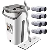 Aifacay Microfiber Mop Floor Cleaner System, Household Cleaning Flat Squeeze Mop and Bucket w/ 8 Reusable Pads Stainless Steel Handle, 360 Swivel Mop Head Self Clean Wet Mop Set for Home Kitchen