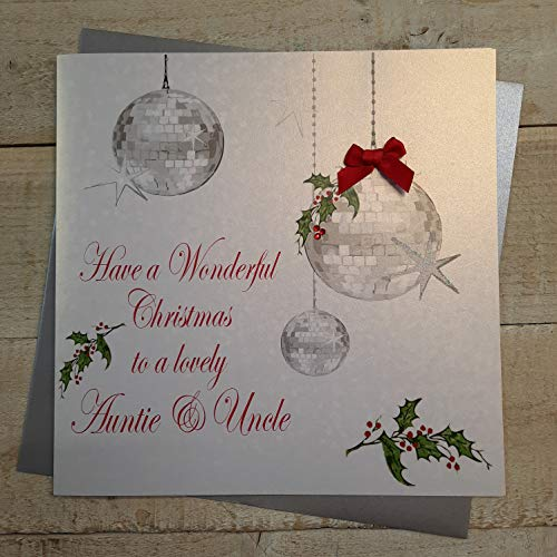White Cotton Cards código XX 14-38 to Have A Wonderful A Lovely Auntie Christmas y tío tarjeta hecha A mano