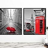 Didart Handmade 2 Cuadros decoración salón o dormitorio moderno. Con marco. Personalizado. Díptico,'Cabina Roja'· Elige tamaño y color del marco.Hecho en España