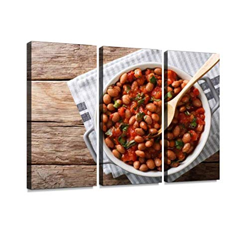 3 Panel Wall Art Modern Artworks for Home Decor Canvas Prints Stewed Cranberry Beans or borlotti in Tomato Sauce with Herbs Close up Pictures for Living Room Bedroom Decoration, Ready to Hang