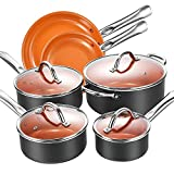 Cookware Set, Aicook 10-Piece Copper Pots and Pans Set, Non Stick Induction Cookware with Stainless...