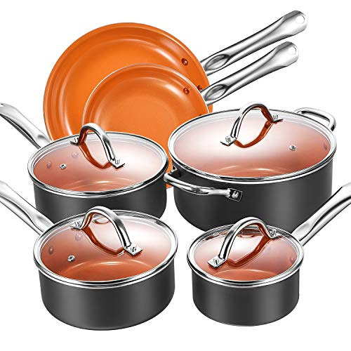 Cookware Set, Aicook 10-Piece Copper Pots and Pans Set, Non Stick Induction Cookware with Stainless Steel Induction Bottom, Dishwasher and Oven Safe
