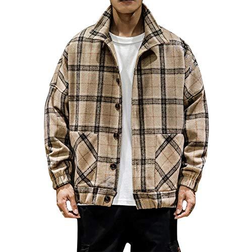 TSTZJ Plaid Flannel Giacca Casual da Uomo a Quadri Qui Cucita Lumberjack Allentato Strumento a Quadri con Cappuccio del Tasto di Collare Felpa Pullover (Color : Khaki, Size : M)