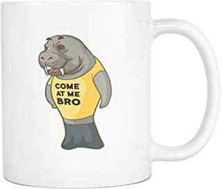 Manatee Come At Me Bro Commercial Novelty White Coffee Mug for Men Women (11 oz)