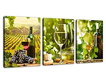 Kitchen Canvas Art Grapes Wine Bottle Pictures for Dining Room Wall Decor - 3 Pieces Canvas Art Fresh Style Fruits Themes Painting Modern Artwork Green Vineyard Contemporary for Home Decoration