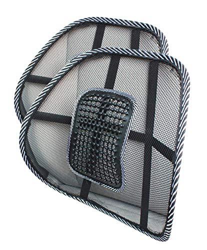 Almohada Lumbar de Apoyo Cintura para Sillas de Cojin de Asiento Almohada Corrector de Postura Negro (2 x Pequeño)