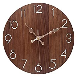 Silent Non-Ticking Classic Digital Wall Clocks,12 Inch Wooden Decorative Round Wall Clock,Battery Operated for Kitchen,Living Room,Bedroom,Office(Brown)