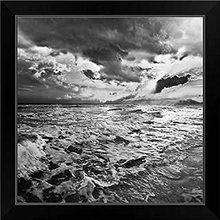 Black and White Photo-Sea Waves Crashing On Shore Black Framed Art Print, 19