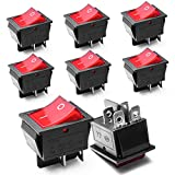 8 x Interrupteurs a Bascule DPDT On/Off 16A/250V 20A/125V AC 4 Broches Illumination Rouge