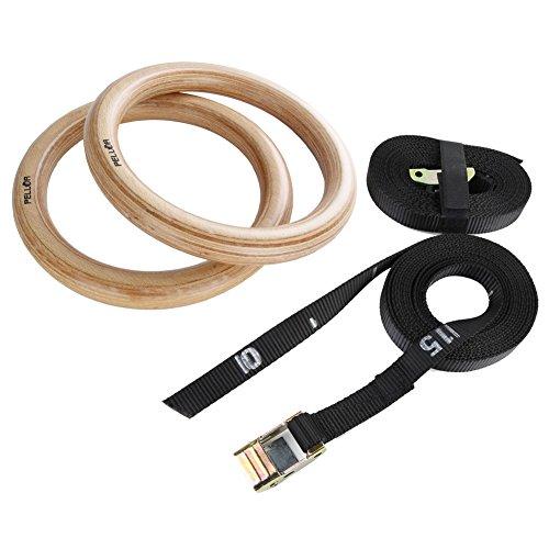 Holz Gym Ringe, Premium Turnringe Ringe Gymnastik Holzturnringe mit Buckles Straps Tragender 400kg