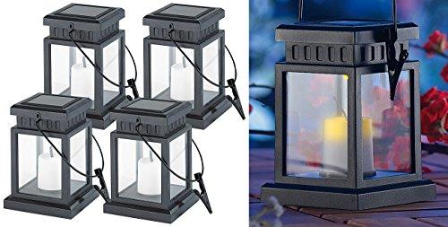 Lunartec Solarkerzen: 4er-Set Solar-LED-Laternen in asiatischem Design, zum Aufhängen, Akku (Solar Laterne Garten zum Hängen)