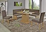 Beauty.Scouts Eckbankgruppe 'Lop' Essgruppe 160 x 140 x 88 Tisch 2 Stühle modern Buche Dekor braun-grau und beige Eckbank Küchentisch 4-teilig Landhaus
