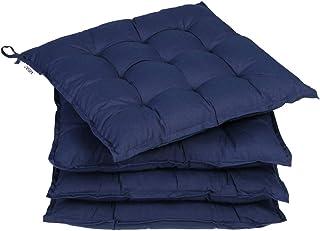 Deuba 4X cojínes Cozy Azul para sillas almohadones Interior y Exterior Acolchado con Cintas de sujetación 41x41cm