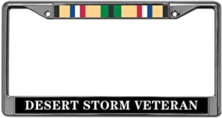 GND Stainless Steel License Plate Frame Desert Storm Veteran Stainless Steel Car License Plate Frame,Veteran US Army Car Licenses Plate Covers Holders US Cars