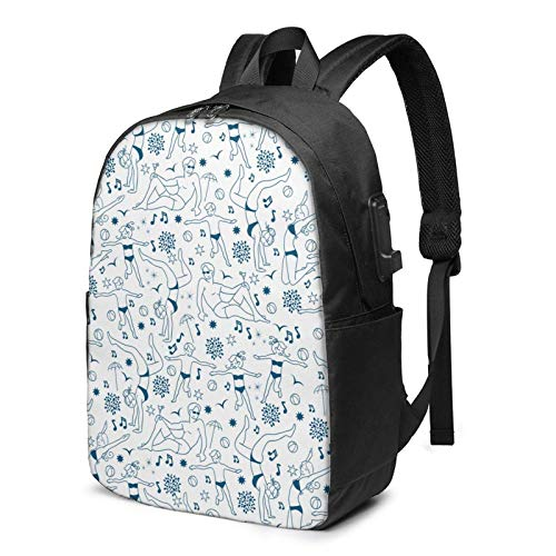 XCNGG Denim Blue People Beach Travel Laptop Backpack College School Bag Casual Daypack with USB Charging Port