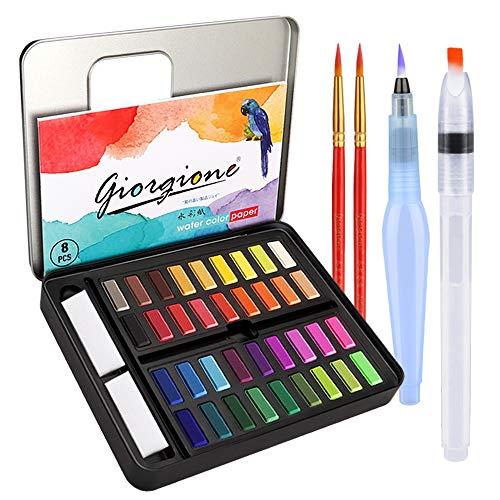 DIAOPROTECT Aquarellfarben,36 Wasserfarben Set,Aquarellfarben Kasten mit 8 Aquarellpapier,2 Wassertankpinsel,2 Pinsel,1 Mischpalette, Aquarellfarbkasten Set ideal für Anfänger und Profis