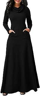 KCatsy Women Plus Size Warm Casual Pocket Long Sleeve Vintage Long Dress Elegant Dress