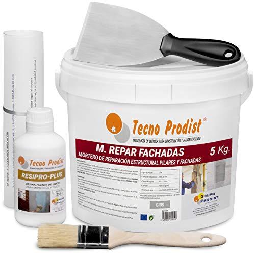 M-REPAR FACHADAS de Tecno Prodist - (5 Kg + Kit) Mortero estructural para reparaciones de fachadas, cornisas, pilares. - Contiene cemento, áridos y fibras especiales - Incluye kit aplicación