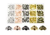 Mandala Crafts End Bead Cap, End Cap Bead Cover Assorted Set from Metal for Jewelry Making; Antique Brass, Rose Gold, Gunmetal, Silver, Gold Color Bali Filigree 375 PCs
