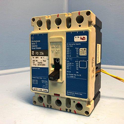Thermal Magnetic Circuit Breaker, C Series, 600 VAC, 250 VDC, 70 A, 3 Pole, DIN Rail