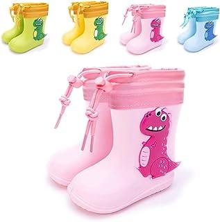 Botas de Agua Niña Niño Impermeable y Antideslizante Botas para Lluvia Rosa cálido EU