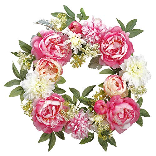 """26"""" Mixed Silk Peony & Dahlia Flower with Twig Hanging Wreath -Pink/Cream (Pack of 2)"""