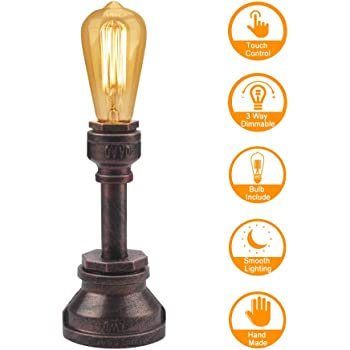 Vintage Table Lamp Touch Control Dimmable Steampunk Antique Accent Lamp E26 ST64 60W Bulb Include Nightstand Lamp Iron Base Industrial Desk Lamp for Bedside Bedroom Living Room Cafe Bar House Décor