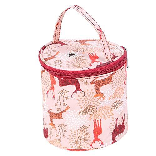 Garnaufbewahrungstasche Knitting Organizer Bag Tragbare Strick-Einkaufstasche für Webwerkzeuge mit Multiteilertasche(Small Barrel)