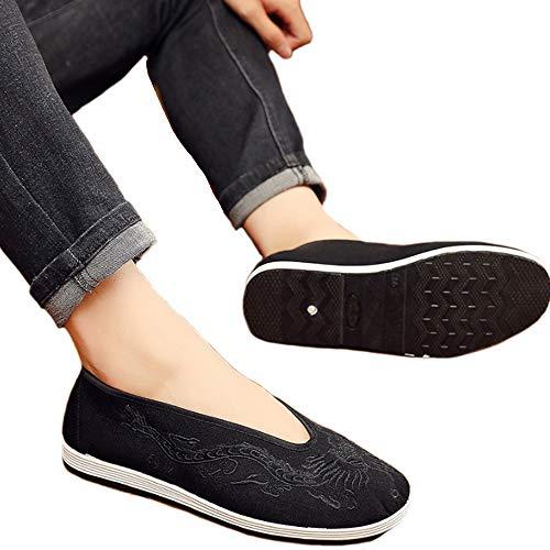 JINFAN Kung Fu Arts Martiaux Tai Chi Chaussures pour Femmes Hommes Shaolin Qi Gong Wing Chun Chaussures,Black-39