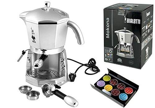 Bialetti  Mokona silber Espressosiebträgermaschine mit 3-fach Brühsystem