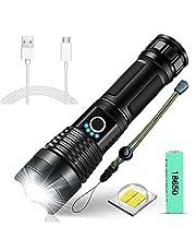 SunTop XHP50 Led-zaklamp, superhelder, 4000 lumen, USB-oplaadbaar, inclusief 18650 batterij, 5 modi, zoombaar, waterdicht, krachtige zaklamp voor kamperen, wandelen, noodgevallen