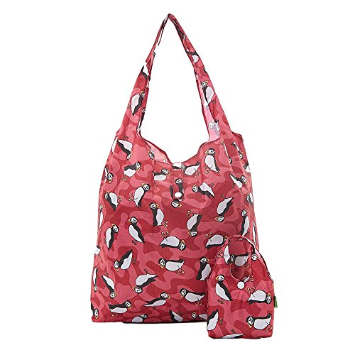 Puffin Print Foldaway Shopper Holds 15kg max ECO CHIC Shopping Bag (Red)