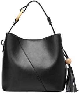 Runhuayou New Fashion Unproblematic Multi-Function Prominent Capacity Shoulder Bag Shoulder Slung Leather Handbag Great for Casual or Many Other Occasions Such (Color : Black)