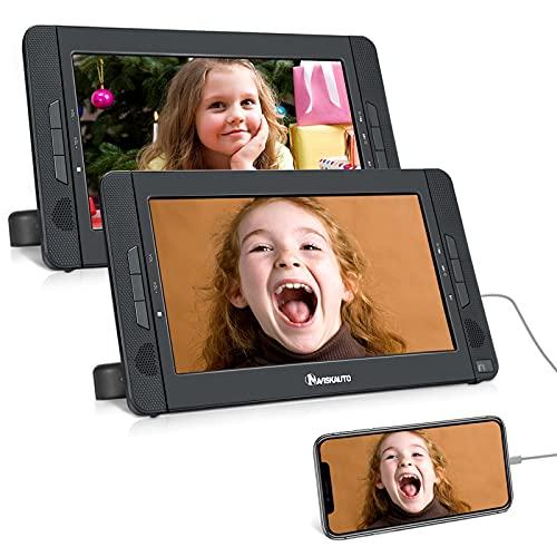 "2 DVD Portátil para Reposacabezas de Coche soporta HDMI, 10.1"" Reproductor de DVD para Niños 5 Horas Batería Recargable Compatible con Tarjeta SD y USB con 2 Mando a Distancias - NAVISKAUTO"