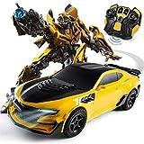 MUMUMI Elettrico di Telecomando Robot trasformatore Bumblebee Ricarica Regalo Toy Car 2.4G RC Deformazione Autobot 360 ° di Rotazione Drift Stunt Kids Auto Ragazzi Compleanno Festa di Natale