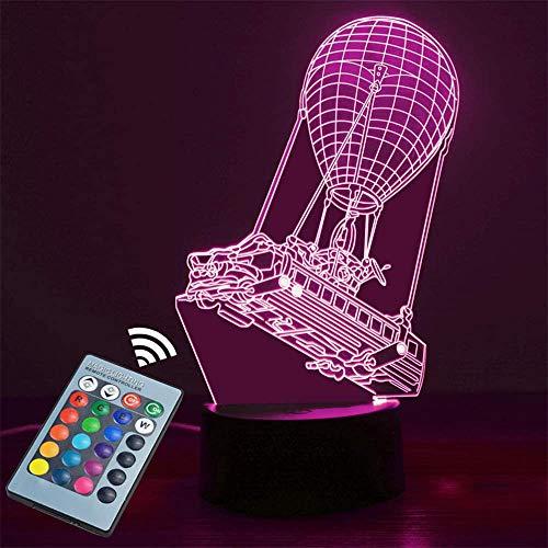 Lámpara de mesa 3D USB Battle Bus3D Luz de la lámpara 16 colores cambian con control remoto de vacaciones y regalos de cumpleaños Ideas para niños