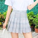 CIDCIJN Mini Jupe Crayon Femme,Fashion Summer Cute Women Skirts Korean High Waist Plaid Mini Skirt Women School Girls Sexy Cute Pleated Skirt with Zipper,Blue,XS